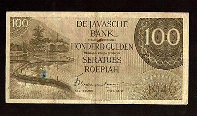 Netherlands Indies 100 Gulden 1946 3 Letters Indonesia P94 VF