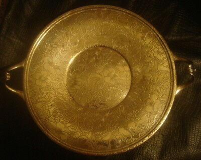 W.B. MFG Co. Antique Silver Plate Serving Tray TAPESTRY Design Round Handles