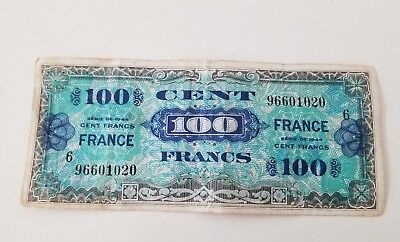 FRANCE 1944 WAR TIME MILITARY ALLIED FORCES PAPER MONEY 100 Cent certificate