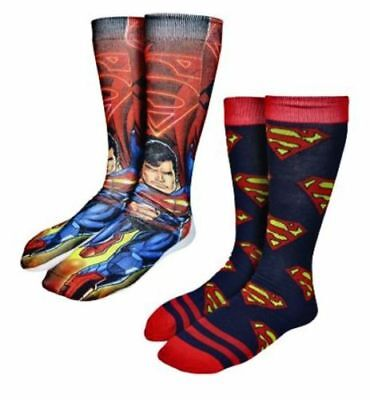 Superman Photoreal Crew Socks 2-Pack New Men's Size 10-13 DC Comic Fashion