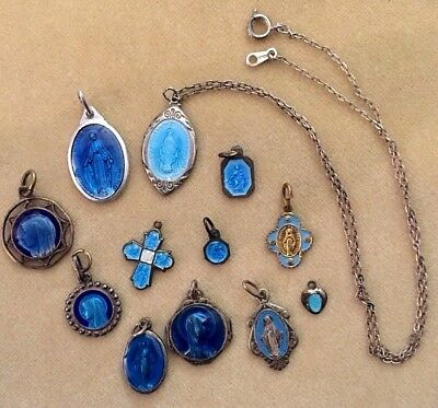Vintage Lot of all BLUE ENAMEL Religious Medals One 2 Sided Sterling on Chain