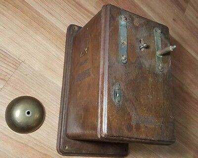 Vintage 1880's WESTERN ELECTRIC TELEPHONE OAK WALL RINGER BOX PHONE  BELL RING