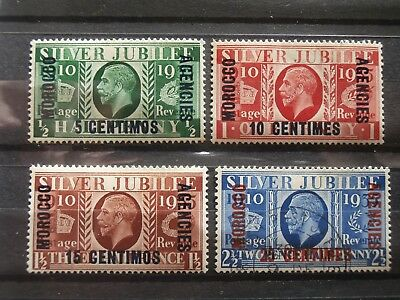 Morocco Agencies - French 1935 Silver Jubilee, 3 mint, 1 used all hinged