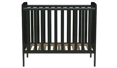 Compact Solid Wood Black Cot Baby Bed 3 Position Base Modern Small Nursery Decor