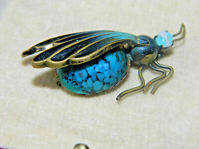 Antique Vintage art deco brass enamel turquoise glass insect bug fly brooch