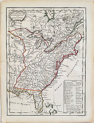 Original antique early map of the United States from 1783 by Jean Lattre