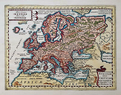 Original antique map of Europe from 1676 by Phillipp Cluver