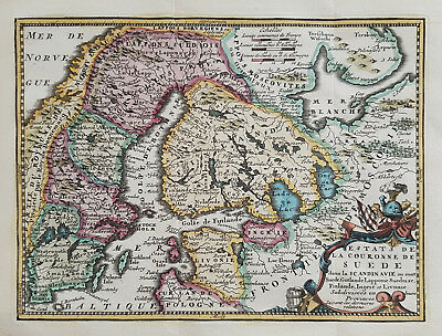 Original antique map of Sweden, Finland and the Baltic States by de Leth