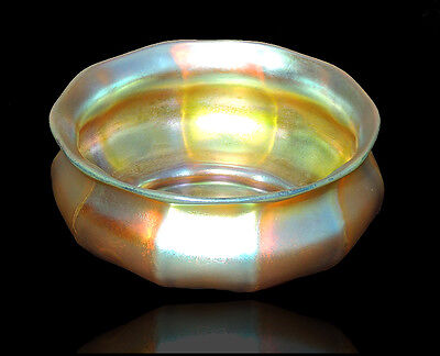 Louis Comfort TIFFANY Hand Blown Favrile Glass Gold Antique Signed LCT Bowl RARE