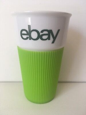 White Glass Ebay Cup With Green Plastic Grip New