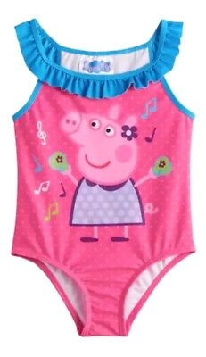 Peppa Pig Toddler Girl Bathing Swim Suit 2T New UPF 50 Pink and blue Free ship