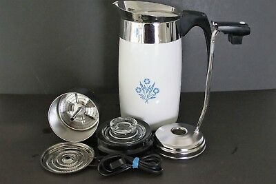 Vintage Corning Ware Blue Cornflower 10 Cup Electric Perculator Coffee Pot