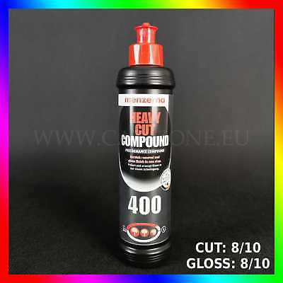 MENZERNA 400 Heavy Cut Compound (250 ml) CUT 8/10 GLOSS 8/10. Pâte en 1 étape