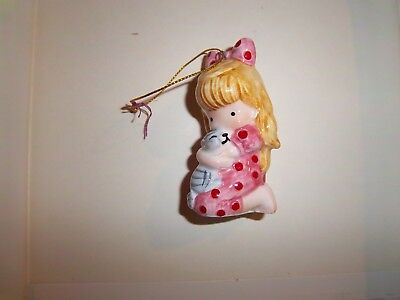 1982 Joan Walsh Anglund Christmas Ornament Figurine Girl with Kitty Cat