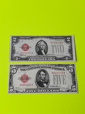 1928 $5 red seal + 1928 $2 red seal