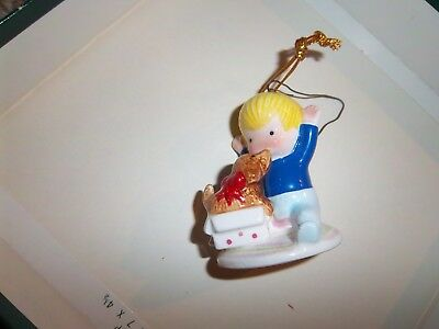 1981 Joan Walsh Anglund Christmas Ornament Figurine Boy with Dog