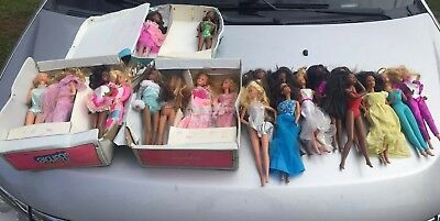 Used Barbie Doll Lot Of 24 Some Vintage With Cases