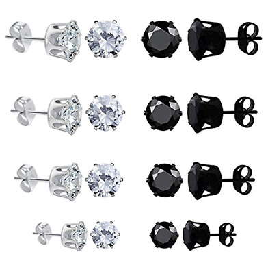 8 Pairs 4mm-8mm Womens Mens Round Stud Earring Black Clear Cubic Zirconia Inlaid