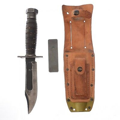 "Camillus 5"" Pilot Survival Hunting Knife 1967 with Sheath w/ Sharpening Stone"