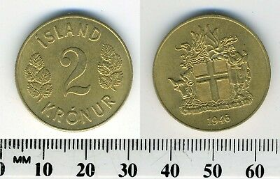 Iceland 1946 - 2 Kronur Aluminum-Bronze Coin - Arms with supporters
