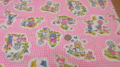 FABRIC Cotton Pink White VTG Scenic Gingham Antique Flower Girl Toile 1.25 Yd+