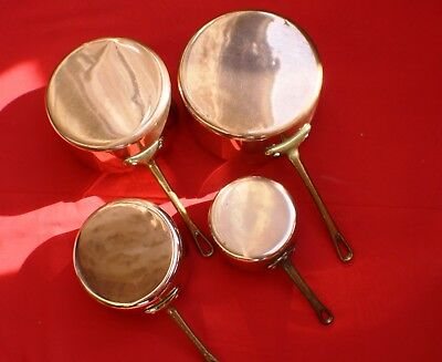 Set Of 4 Vintage French Copper Lined Saucepans