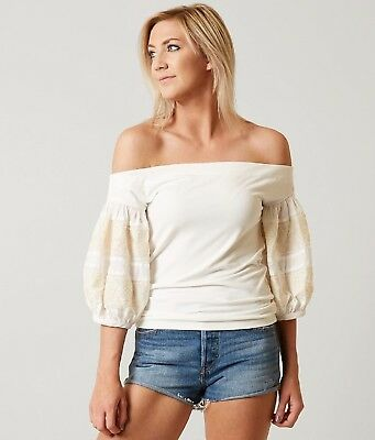 8c5c1a1ec630d NWT FREE PEOPLE Rock With It Off Shoulder Top Embroidered Sleeves Cream M