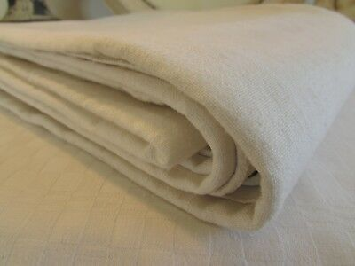 ANTIQUE FRENCH RUSTIC CHANVRE HEMP LINEN SHEET TEXTILE MID 1800's HAND LOOMED