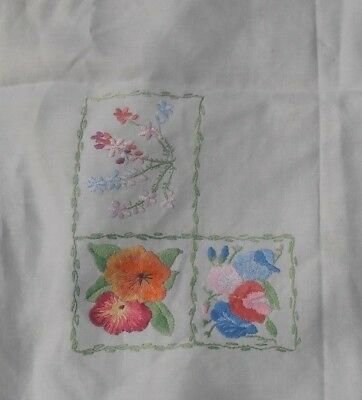 """Beautiful vintage colourful 3"""" embroidery squares on lace edged cloth 3 x 2 feet"""