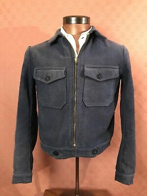 Beautiful French 1930s/40s Cotton Moleskin Cyclist Jacket