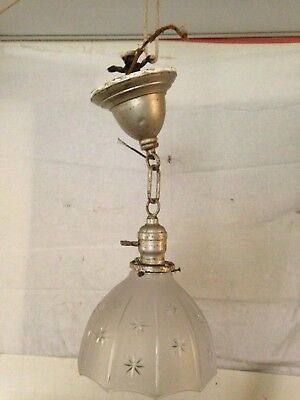 Vintage Antique Hanging Ceiling Light Fixture Frosted & Cut Glass Globe