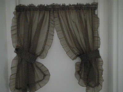 1970's dotted swiss ruffled kitchen curtains  2 panels 2 tie backs chocolate brn