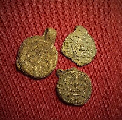 Lot of 3 Medieval Lead Seals, 14. Century