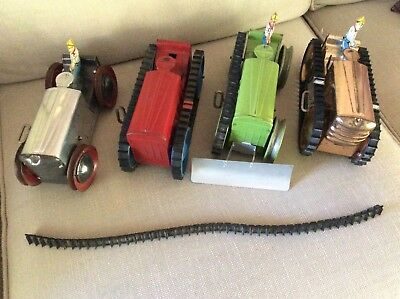 """Lot of 4 Vtg Marx Tin Wind Up 8"""" Tractors Red/Green/Gold/Silver"""
