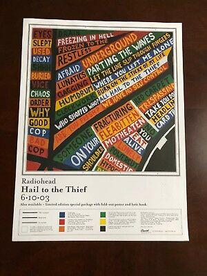 "RADIOHEAD Hail To The Thief 2003 promo only 15"" x 20"" lithograph POSTER"