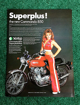 Original 1973 Norton Pin-Up Motorcycle Magazine Ad Commando 850 Poster?