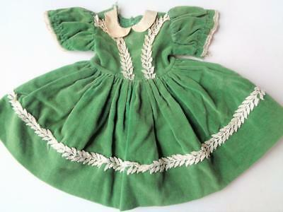 "1940s-50s Vintage Doll Dress GREEN VELVET fit 16"" 17"" 18"" Madame Alexander Vogue"