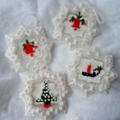 Hand Made Christmas Ornaments - 4 PLASTIC CANVAS ORNAMENTS 3 w/PEARLS