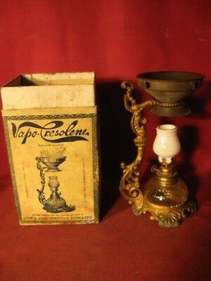 Antique Vapo-Cresolene Vaporizer With Original Box - Patented Aug 4, 1885 - 1888