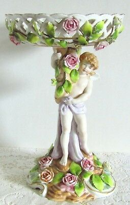 Gorgeous Vintage Germany A 12 Porcelain Cherub Pierced Compote Applied Flowers