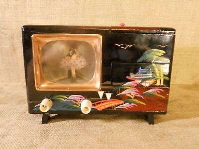 Vintage Japanese Lacquerware Musical Jewelry Box w2 Figs. Ballerina & Man in Tux