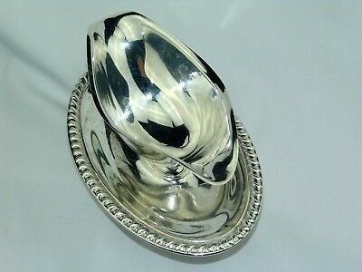 Rogers Silver Sauce Boat Double Spout & Attached Drip Tray # 813 Gadroon Pattern