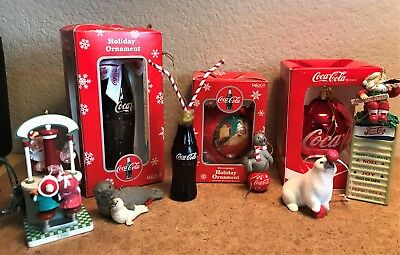 Lot of Coca Cola Christmas Ornaments +