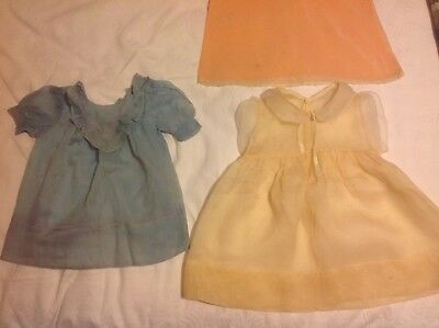Antique baby / doll's dresses x2, muslin, silk, Victorian / Edwardian