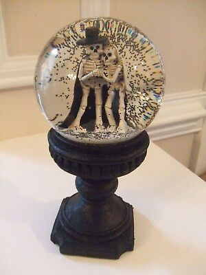 "Halloween Skeleton Couple Snow Water Globe on a Stand 8""T"