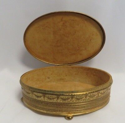 Vintage Decorated in French Style.Gilt Metal Ornate Footed Oval Jewelry Box.