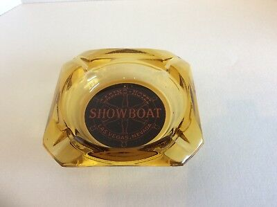 Vintage Showboat Casino Ashtray - Amber Glass