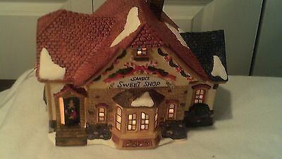 Christmas Village Santa's Sweet Shop In Original Box,  No Chips & No Cracks
