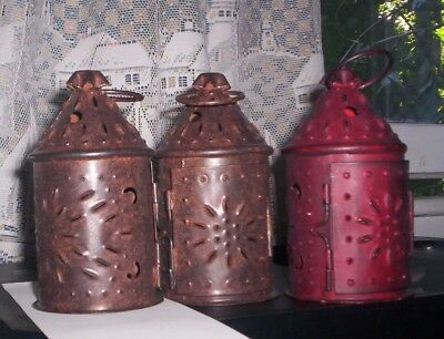 3 Miniature Metal Lanterns 5 Inches Tall X 2 3/4 Inches Base2 Colors Red & Brown