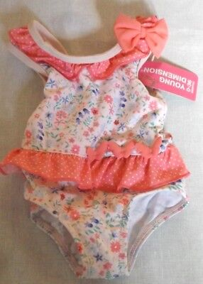 BNWT 0-3 months  IVORY PINK BLUE GREEN FLORAL BABY GIRLS SWIMMIMG COSTUME FRILL